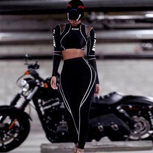 Женская мода Tracksuit Горячие продажи черных женщины вскользь с длинным рукавом Два Бюстия конструктора женщин Спорта Tracksuit Размер S-L