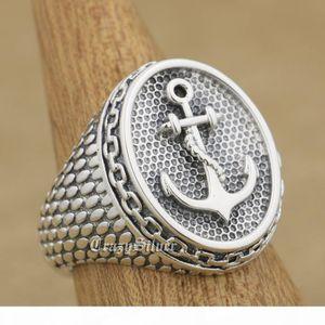 925 Sterling Silver якорной цепи мужского Biker Rocker Punk кольцо 9W023 США Размер 7 ~ 15