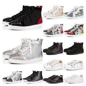 Nuevas zapatillas de deporte para hombre inferiores del rojo tachonado Spikes blanco negro gris criaba gamuza láser de tamaño para mujer para hombre planas amantes de la fiesta 36-46 con la caja