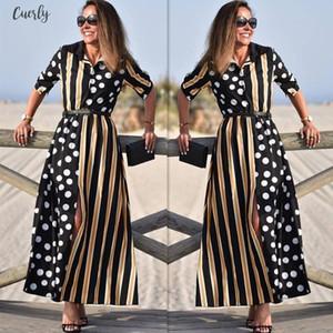 Summer Dress 2020 Sleeve Casual Womens Boho Half Sleeve Wave Point Fashion Ladies Casual Evening Paty Long Dress N05