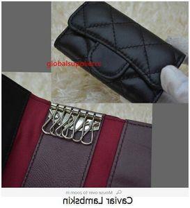 Black 31503 Women 2019 Lambskin Caviar Leather key Holder Small Purse For Key Wallets Card & ID Holders Key Wallets
