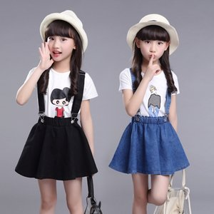 wear classic casual suit girls summer wear medium and large cartoon denim belt skirt two-piece children's Children's fashion