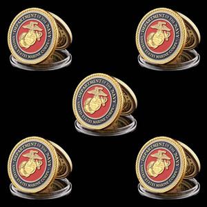 5шт Gold Вызов монет США Военно-морской отдел корпуса ВМС Позолоченные 1oz вызов монеты