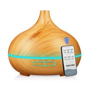 550 ml Elektrikli Ultrasonik Nemlendirici Uzaktan Kumanda Uçucu Yağ Difüzör Aroma Lambası Aromaterapi Ahşap Tahıl Arıtma ABD Depo Hom için