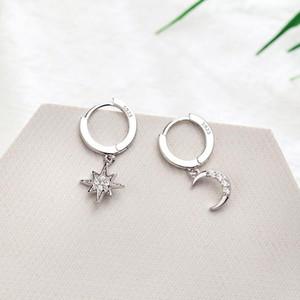 Stern-Mond Asymmetrische 925 Sterlingsilber Zirkonia-Band-Ohrringe für Frauen Art und Weise CZ-Kreis-Ohr-Ring Ohrringe Schmuck