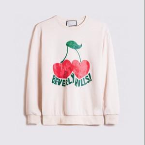 2020 Herbst und Winter neue Produkte Kirschdruck Netz rot Rundhals Pullover Pullover Männer und Frauen vielseitig Paar Jacken