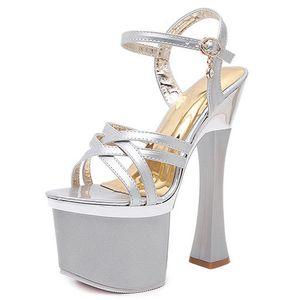 Женщины высокой пятки 17.5cm сексуальные платформы сандалии обувь Model T Show Lady Superb Высокий каблук Сандалии Pole Dance Stilettos