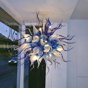 Pendentif Lampes modernes Bleu Clear Couleur Couleur LED Chandeliers Pendentif-Lights-Lumières de salon Chambre à coucher Verre Lustre Creative Home Lighting Fixtures