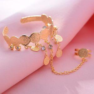 Wando Free Size Kids Baby Girls Coin Bracelet Bangles For Baby Islam Muslim Arab Coins Money bracelet Child holiday gift