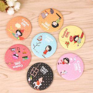 Mirror DHL Cute Compact Cartoon Makeup Mirror Mini Portable Cosmetic Mirror Round Cartoon Accessories Products Girls
