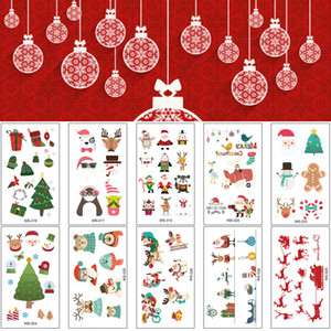 Merry Christmas Body Tattoo Transfer for Kids Neck Face Hands Makeup Santa Elk Snowman Temporary Tattoo Sticker Carnival New Year Home Decor