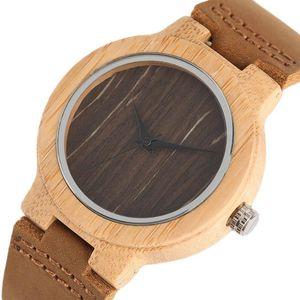 YISUYA Donne Legno Watch Retro semplice femminile Caffè Dial bambù orologio di legno Genuine Leather migliori regali dell'amante 2020 vigilanza