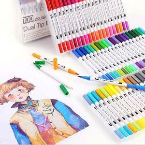 Farbe Stifte Kunst Dual Tip Pinsel Marker Stifte Fineliner Aquarell Kunst Markierungen Kalligraphie Färbung Zeichnung Malerei Weihnachtsgeschenk BLSK304