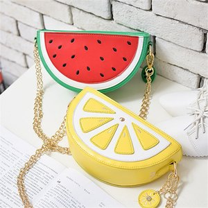 New fashion Fruit shoulder personalized watermelon Lemon Orange semicircular fruit women's bag Korean style shoulder slanting bag