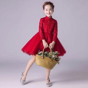 Boutiques Embroidery Flower Girls Dresses With Rhinestone Belt Ruffled Elegant Children Evening Prom Long Dress
