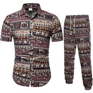 Para hombre del verano de los 2 conjuntos de piezas de la impresión floral de la manga corta camisas de moda casual ajustado de los hombres Camisas Pantalones