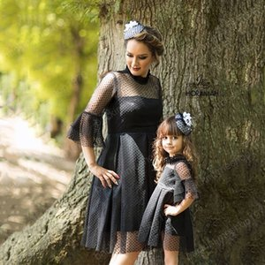 Family Matching Dresses Autumn Mother Daughter Lace Sleeve Clothes Outfits 2020 Mommy Anf Me Formal Dress
