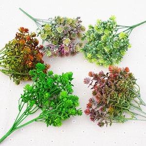 Mode 7 Forks Guanyin Graminées 28 filet vert gazon artificiel Garland plante en plastique Eucalyptus Feuilles Plantes Bush Décoration intérieure