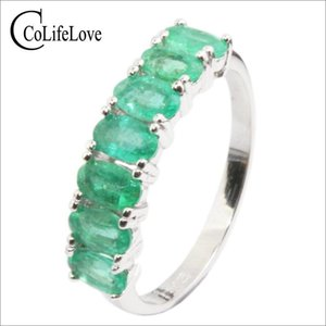 CoLifeLove 100% anillo de plata Emerald Natural 7pcs 3 * 5 Mm SI Grado Emerald anillo de plata esterlina Emerasld anillo de plata esterlina Emerald joyería