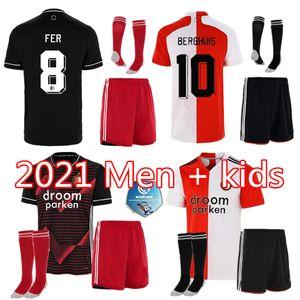Hommes Kids Kit chaussettes Feyenoord 20 21 Jersey de football Accueil 2020 2021 Narsingh Larsson Berghuis Kokcu Jorgensen chemise maillot de jersey kits uniforme