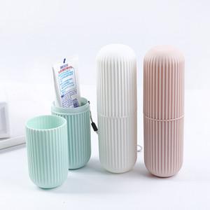 Basit stil seyahat taşınabilir çift diş fırçası kutusu seyahat ağız fırçalama diş fincan yaratıcı plastik diş macunu diş fırçası saklama kutusu
