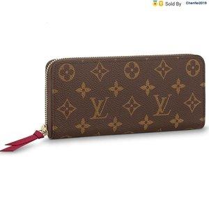 chenfei2019 EVX8 bolso de Clemence flor de largo carpeta Monedero M60742 totalizadores Bolsos Bolsa de hombro Mochilas fruncen