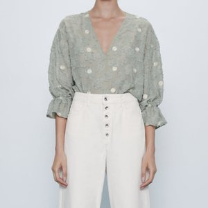 ZA Semi-sheer Summer Shirt Women 2020 V-neck Ruffled Elastic Cuffs Top Female Polka Dot Blouse Elegant Textured Weave Shirts Y200622