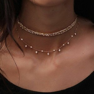 Gold Color Choker Necklace Short Multilayer Beads Tassel Women Necklaces & Pendants Crystal Star Chokers Fashion Jewelry