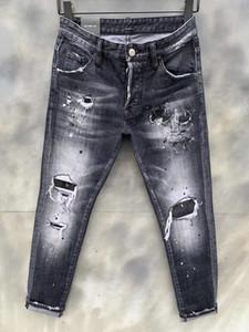 2020 dril de algodón flaco del diseño popular de verano los hombres a estrenar Coolguy Jean bordado pantalones vaqueros agujeros de botón para hombre pantalones largos 9121