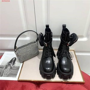 The latest autumn Winter lace-up pocket ankle boots, Leather shoes with Middle heel, Knight Martin boots