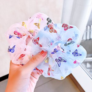 New Women Girls Beautiful Print Butterfly Elastic Hair Bands Tie Ponytail Holder Rubber Band Scrunchie Fashion Hair Accessories