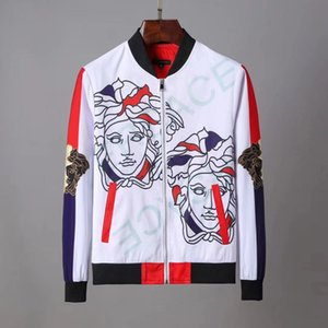 Fashion Jacket Windbreaker Long Sleeve Mens Jackets Hoodie Clothing Zipper with Animal Letter Pattern Plus Size Clothes M-3XL#22