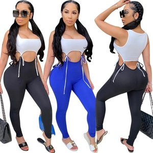Sexy Women Bandage Jumpsuit Cutout Strip Stitching Sleeveless Shorts Rompers Tight Playsuit Pants Women Plus Size Rompers