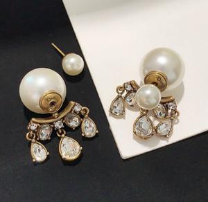 la venta del nuevo estilo antiguo de oro perla colgante de diamantes de imitación mujer pendientes delicados compra obligada moda pendientes retro del todo-fósforo