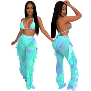 Letter Tie Dyeing Print Women Sports Suit Sleeveless Strap Crop Top High Waist Biker Shorts Pants Workout Clothes Tracksuit Outfit 2020