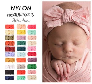 Newest INS Baby Turban Bebe Super Soft Nylon Headbands Baby Girls Bow Knot Hairbands Fashion Headwraps Hair Accessories
