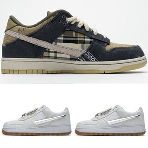 Nike Air Force One  AF1 Travis Scott 1 Sail Cactus Jack bambini giovanissimi TS pattini correnti del mens scarpa da tennis atletica Trianers Donne Sport Skateboarding Flats