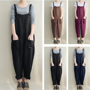 S-5XL Women Overalls Spring Autumn Flax Jumpsuit Casual Loose Suspender Trousers Pants Pocket Button Rompers Ladies Jumpsuits Overalls INS
