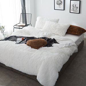 Pure Color Mink Velvet Bedding Sets 20 colors lambs wool Fleece Bed Sheet Duvet Cover bedclothes Fitted sheet Queen size 4 6 7pc