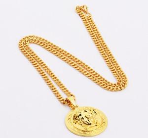 Марка Medusa Circluar Мужские дизайнерские цепи ожерелья 18K позолоченный хип-хоп моды ожерелье Rock Gift Drop Доставка