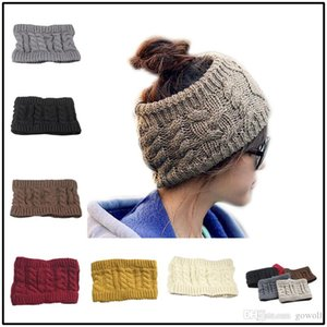 Winter Trendy Women Wide Crochet Headband Messy Bun Ponytail Womens Skull Caps Ladies Hats Beanies Ear Warmer