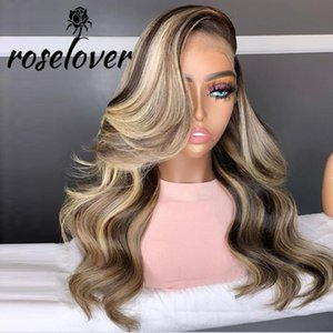 Roselover High Density 13*6 Deep Parting Lace Front Human Hair Wigs Remy Brazilian Highlight Wavy Pre Plucked Hairline Baby Hair