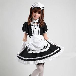 Akihabara Cosplay Sexy francês empregada traje de tule Halloween traje das meninas bonitos Black Dress Lolita Uniforme Lolita Escola para Mulheres