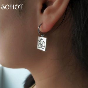 SOHOT Classic Religious Square Om Yoga Hoop Earrings Unisex Art Buddhism Trendy Vintage Gold Silver Color For Birthday Gift