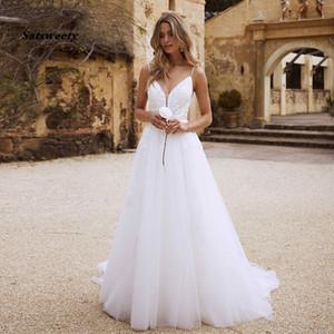 Satsweety Bohemian Wedding Dresses Beach 2020 Appliques Lace Spaghetti Strap White Wedding Gowns Romantic Vintage Bride Dresses