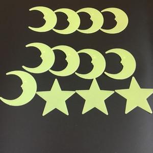 8cm 3D-Stern-Mond-Wand-Aufkleber Stoffaufkleber Glow In The Dark Wand Aufkleber Kinderzimmer Wohnzimmer Luminous Wandaufkleber DBC BH3945