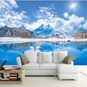 papel pintado moderno para vivir con vista al lago habitación Swan Lake fondos de pantalla hermosa pintura de paisaje nevado salón pared de fondo