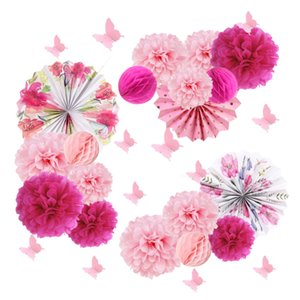 15pcs Wedding Decoration Tea Party Tissue Paper Pom Pom Flowers Floral Paper Pinwheels Rosettes Fans Butterfly Wall Stickers T200715