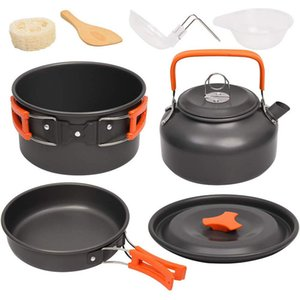 Outdoor Tablewares Camping Cookware Kit Outdoor Aluminum Cooking Set Water Kettle Pan Pot Travelling Hiking Picnic BBQ Tableware Equipment
