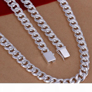 Wholesale Jewelry Set 925 Sterling Silver Jewelry 925 Silver Men 1+1 Figaro Chain Necklace + Bracelet Jewelry Sets for Men